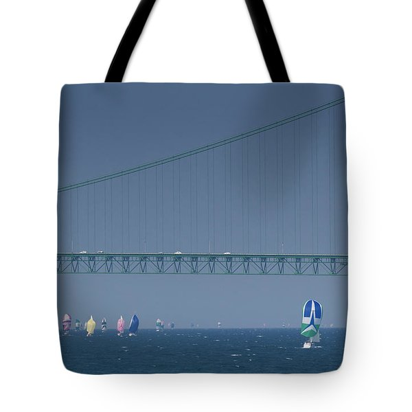 Chicago To Mackinac Yacht Race Sailboats With Mackinac Bridge Tote Bag