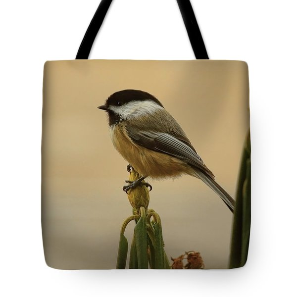 Chickadee On Rhododendron Tote Bag