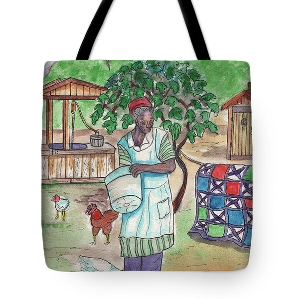 Chicken Feeding Time Tote Bag