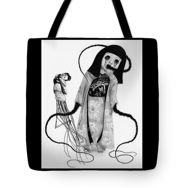 Tote Bag featuring the drawing Chikako The Doll Girl Of Kanagawa - Artwork by Ryan Nieves