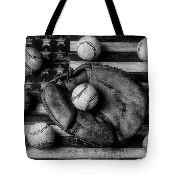 Childhood Catchers Mitt On Flag In Black And White Tote Bag