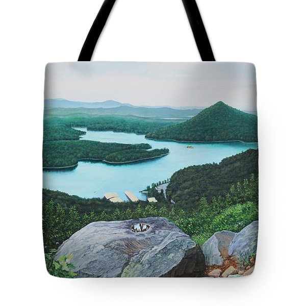 Tote Bag featuring the painting Chilhowee Overlook by Mike Ivey