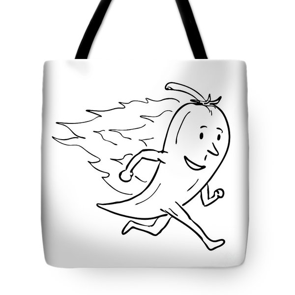 Chilli Pepper On Fire Running Drawing Black And White  Tote Bag