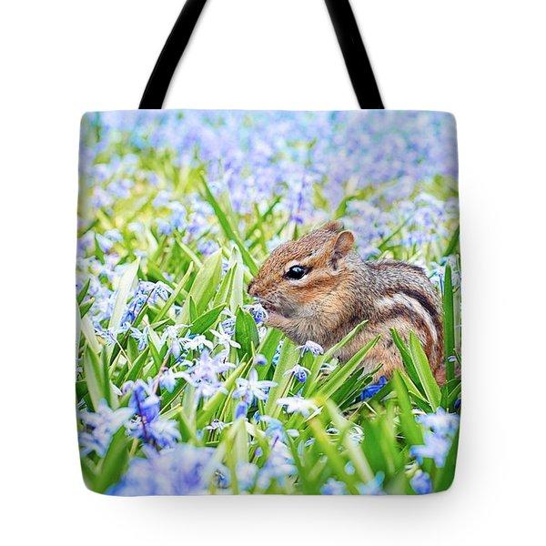 Chipmunk On Flowers Tote Bag