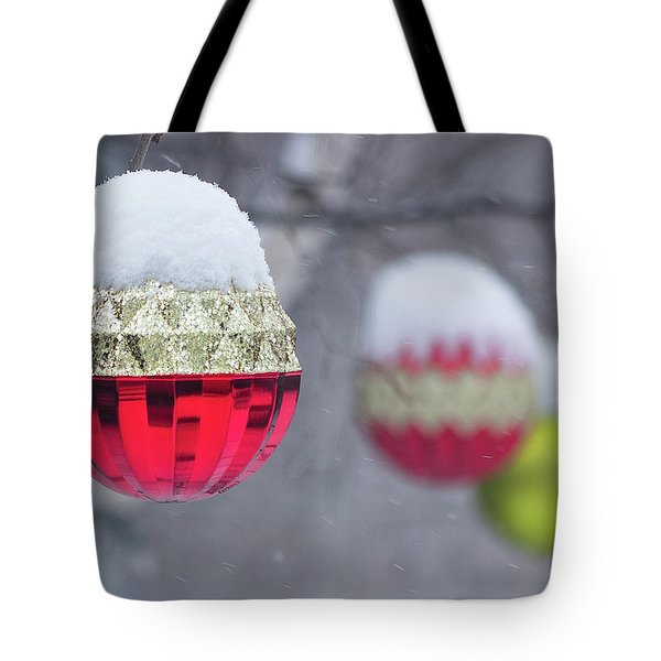 Tote Bag featuring the photograph Christmal Balls Outside Covered By Snow - Snowy Winter Scene by Cristina Stefan