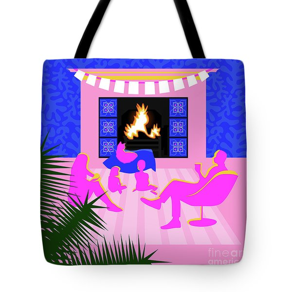 Christmas By The Fireplace Tote Bag