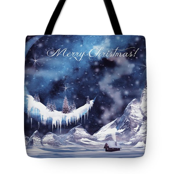Christmas Card With Frozen Moon Tote Bag