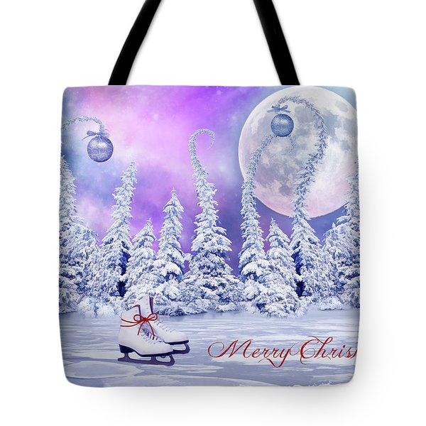 Christmas Card With Ice Skates Tote Bag