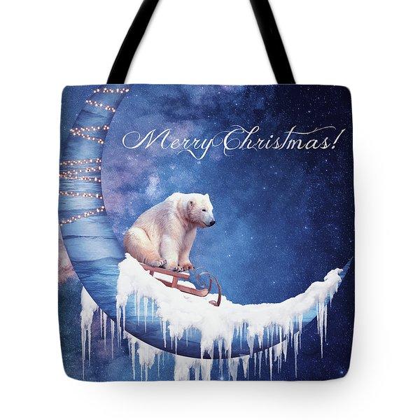 Christmas Card With Moon And Bear Tote Bag