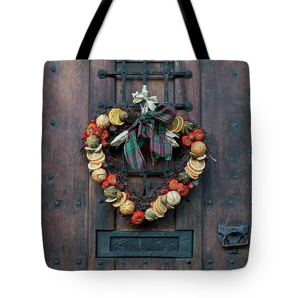 Tote Bag featuring the photograph Christmas Heart Wreath by Tim Gainey