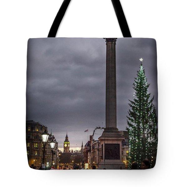 Christmas In Trafalgar Square, London Tote Bag