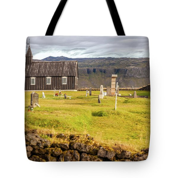 Tote Bag featuring the photograph Church Cemetery Of Iceland by David Letts