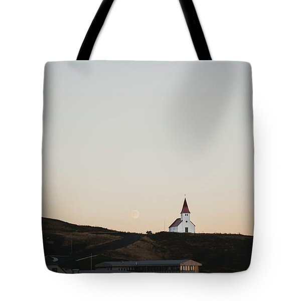 Church On Top Of A Hill And Under A Mountain, With The Moon In The Background. Tote Bag