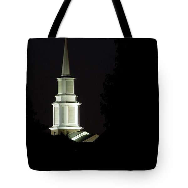 Tote Bag featuring the photograph Church Steeple At Night by Jerry Sodorff