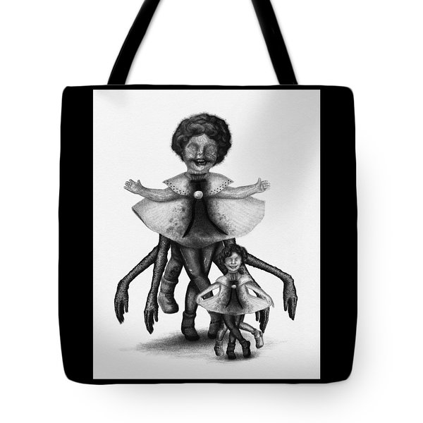 Tote Bag featuring the drawing Cindy And Her Monstrous Doll - Artwork by Ryan Nieves