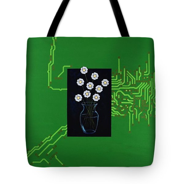 Tote Bag featuring the painting Circuit Board Bouquet by Mary Scott