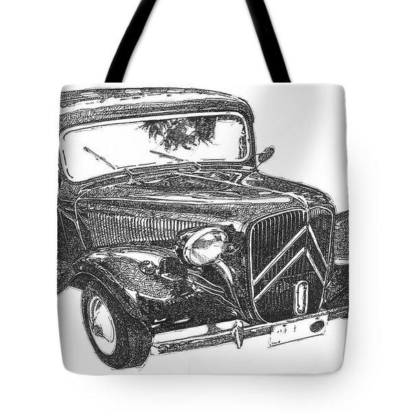 Citroen 11b 1956, Classic Car, Ink Drawing, Office Decoration Tote Bag