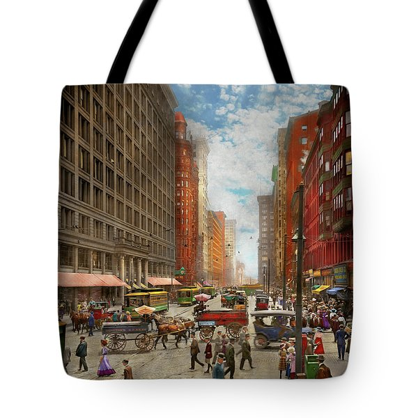 Tote Bag featuring the photograph City - Chicago Il - Marshall Fields Company 1911 by Mike Savad