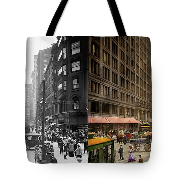 Tote Bag featuring the photograph City - Chicago Il - Marshall Fields Company 1911 - Side By Side by Mike Savad
