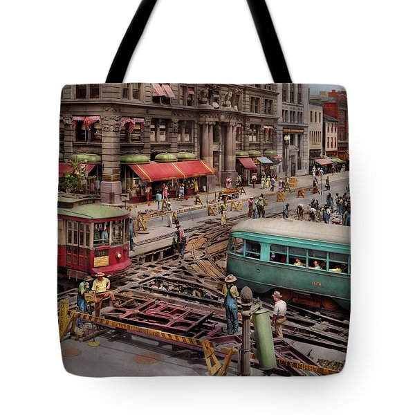 Tote Bag featuring the photograph City - Dc - Road Closed For Repairs 1941 by Mike Savad