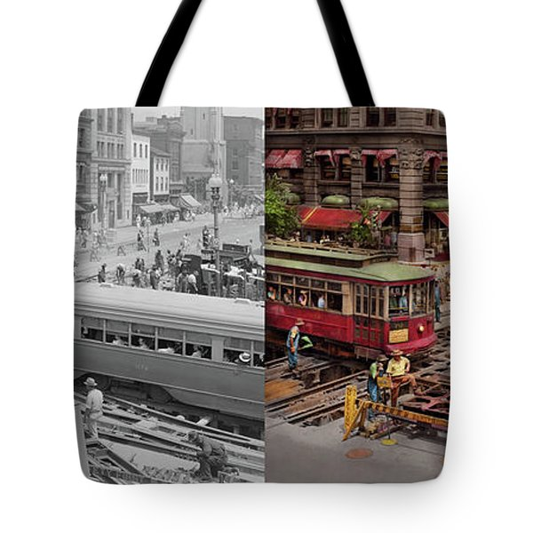 Tote Bag featuring the photograph City - Dc - Road Closed For Repairs 1941 - Side By Side by Mike Savad