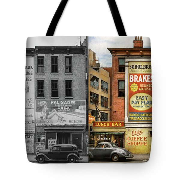 Tote Bag featuring the photograph City - New York Ny - Elite Lunch Bar 1938 - Side By Side by Mike Savad