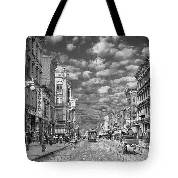 Tote Bag featuring the photograph City - Ny - Main Street Poughkeepsie, Ny - 1906 - Black And White by Mike Savad