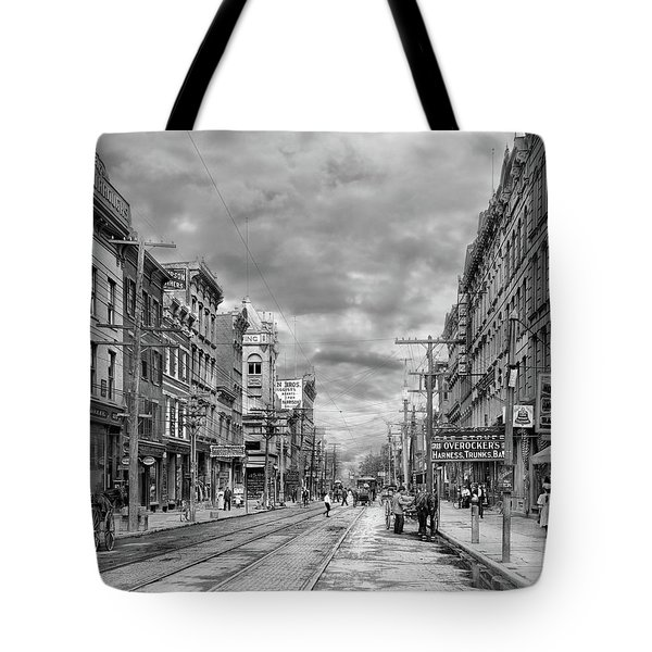 Tote Bag featuring the photograph City - Poughkeepsie Ny - The Ever Changing Market Place 1906 - Black And White by Mike Savad