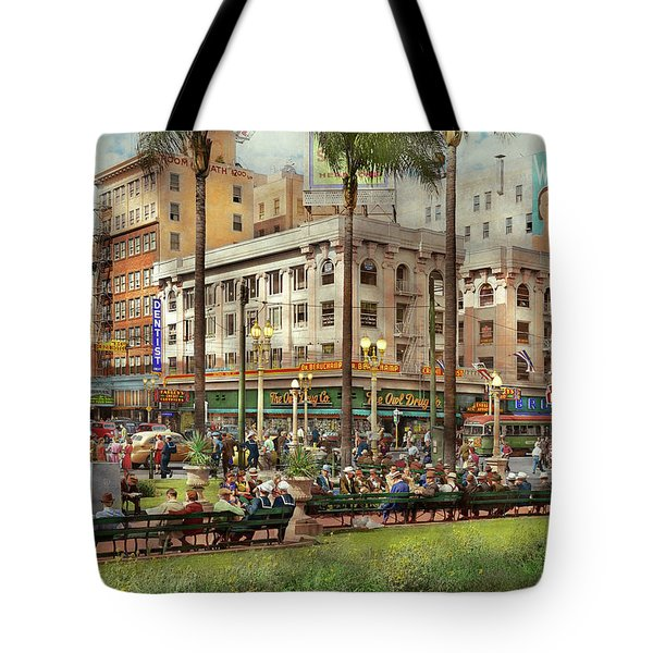 Tote Bag featuring the photograph City - San Diego Ca - A Busy Street Corner 1941 by Mike Savad