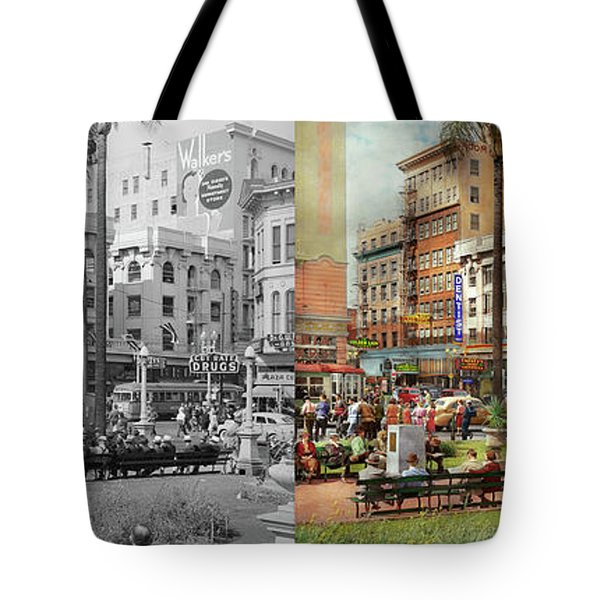 Tote Bag featuring the photograph City - San Diego Ca - A Busy Street Corner 1941 - Side By Side by Mike Savad