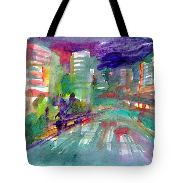 Tote Bag featuring the painting Cityscape 3 by Dobrotsvet Art