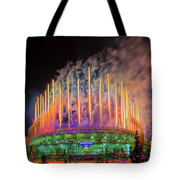 Cleveland Baseball Fireworks Awesome Tote Bag