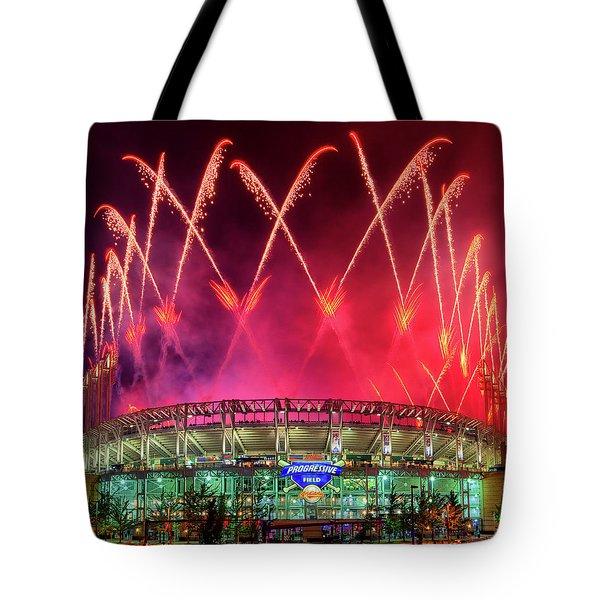 Cleveland Indians Fireworks Tote Bag