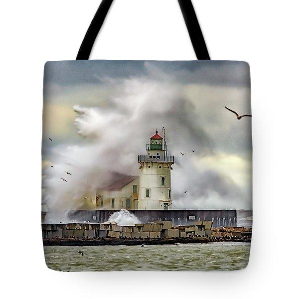 Cleveland Lighthouse Storm  Tote Bag