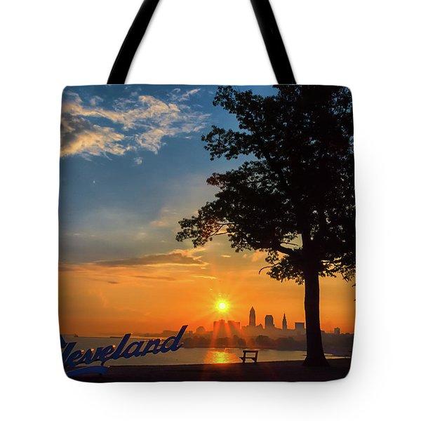 Cleveland Sign Sunrise Tote Bag