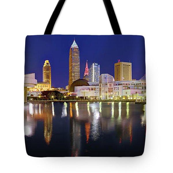 Cleveland Skyline At Dusk Rock Roll Hall Fame Tote Bag