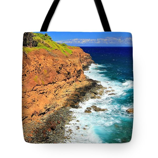 Cliff On Pacific Ocean Tote Bag