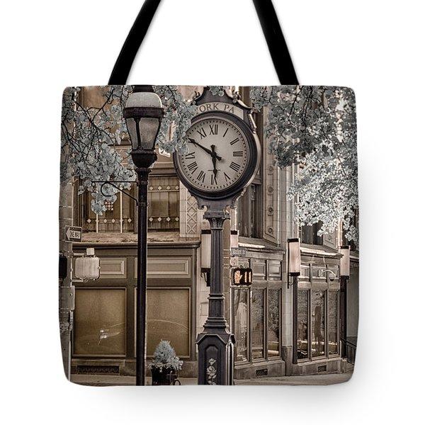 Clock On Street Tote Bag