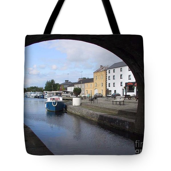 Tote Bag featuring the painting Cloondara,a Shannon By Way. by Val Byrne
