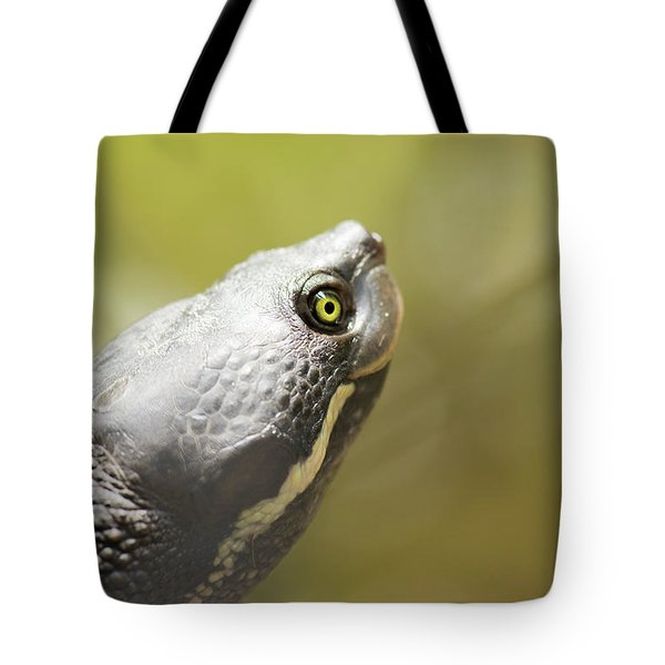 Close Up Of A Turtle. Tote Bag