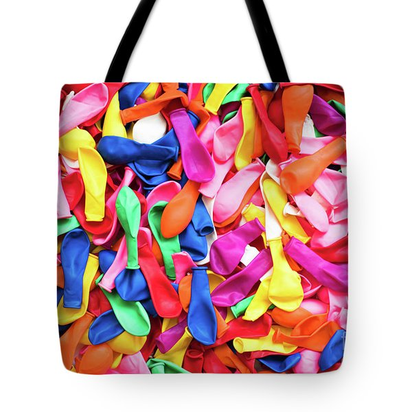 Close-up Of Many Colorful Children's Balloons, Background For Mo Tote Bag