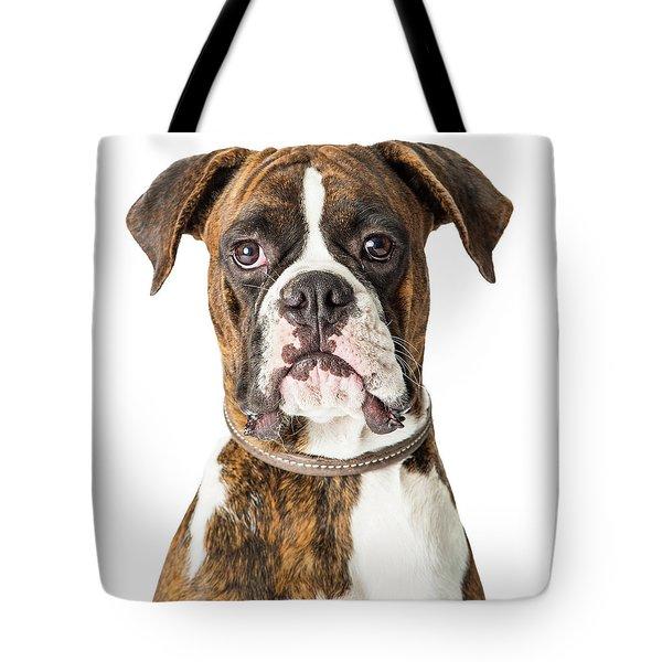 Closeup Boxer Dog Looking Forward Tote Bag