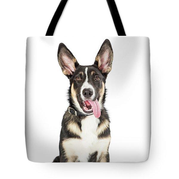 Closeup Cute Puppy Tongue Hanging Out Tote Bag