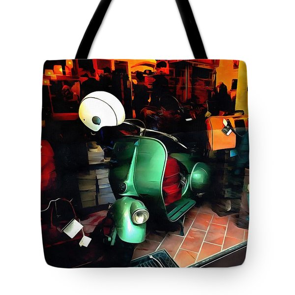 Tote Bag featuring the photograph Clothing Shop With Vespa Pienza by Dorothy Berry-Lound