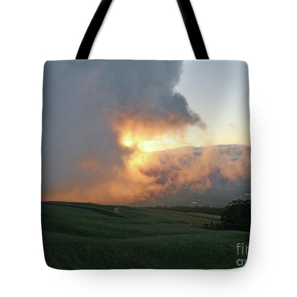 Tote Bag featuring the photograph Cloud Bank And Sunset by PJ Boylan