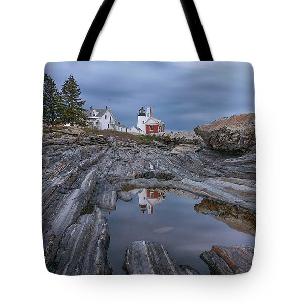 Cloudy Afternoon At Pemaquid Point Tote Bag
