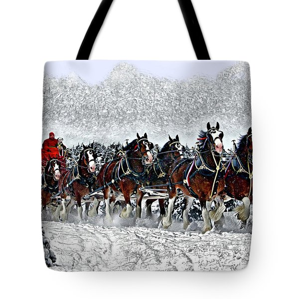 Clydesdales Hitch In Snow Tote Bag