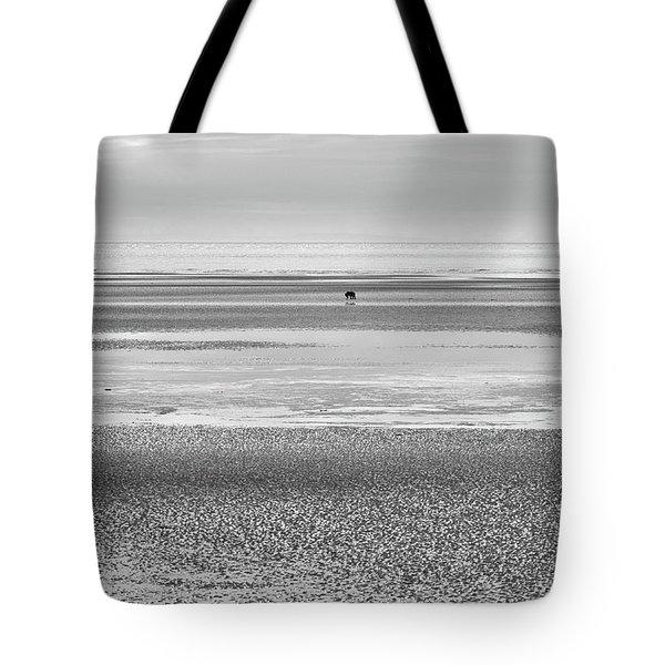Coastal Brown Bear On  A Beach In Monochrome Tote Bag