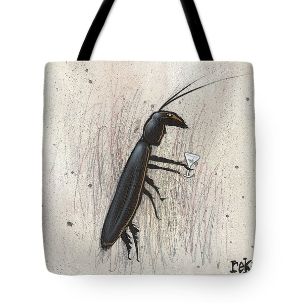 Tote Bag featuring the painting Cockroach With Martini by Rick Baldwin