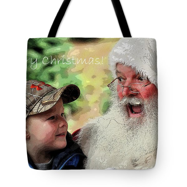 Tote Bag featuring the photograph Cody Santa Greeting by Jerry Sodorff